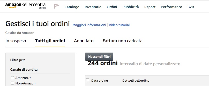 Gestione Amazon Seller Central